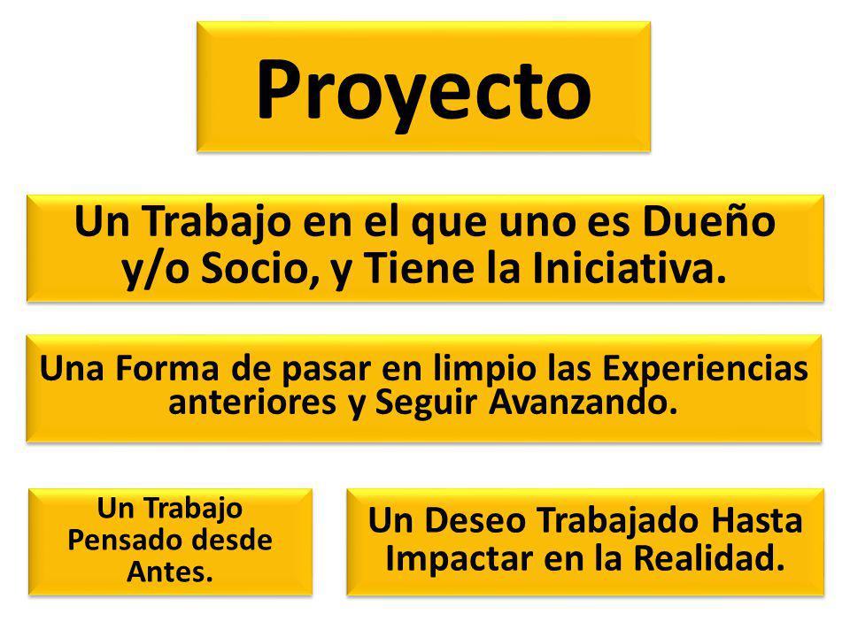 Proyecto Un Trabajo en el que uno es Dueño y/o Socio, y Tiene la Iniciativa.