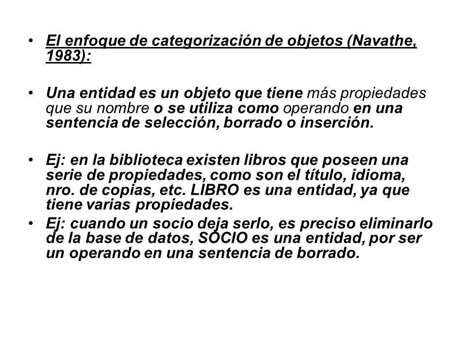 El enfoque de categorización de objetos (Navathe, 1983):