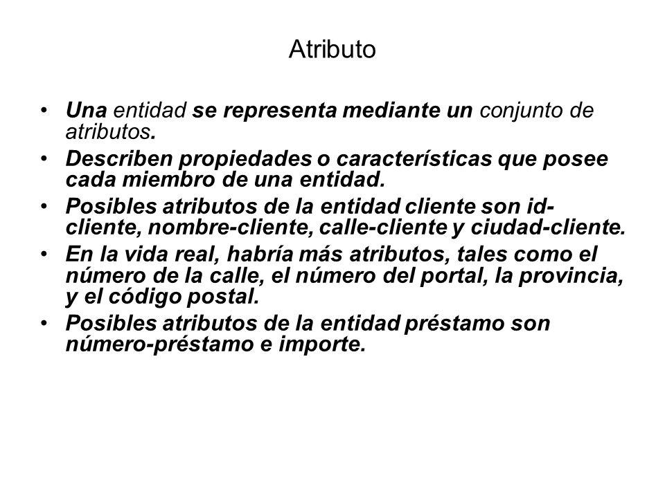 Atributo Una entidad se representa mediante un conjunto de atributos.