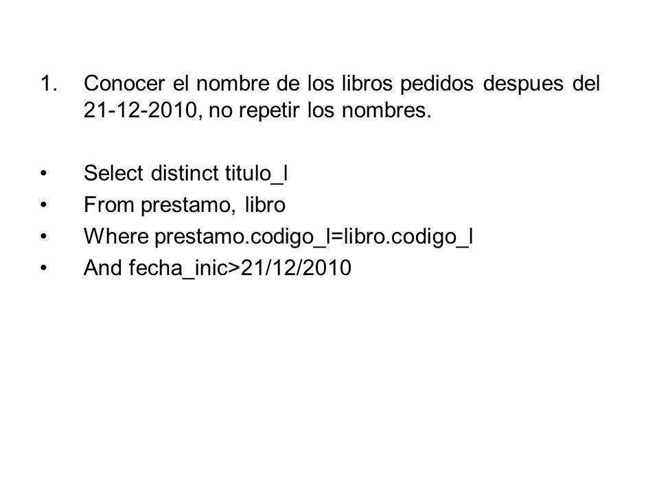 Conocer el nombre de los libros pedidos despues del 21-12-2010, no repetir los nombres.