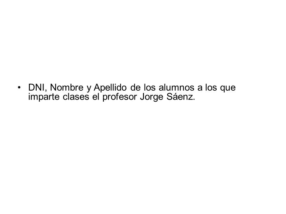 DNI, Nombre y Apellido de los alumnos a los que imparte clases el profesor Jorge Sáenz.
