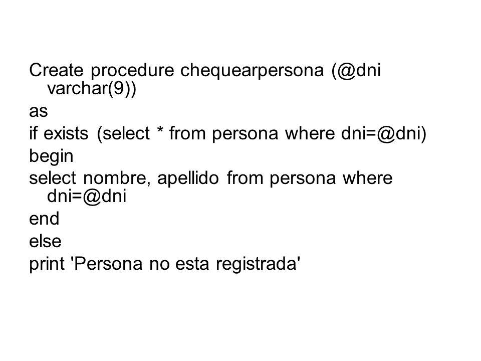 Create procedure chequearpersona (@dni varchar(9))