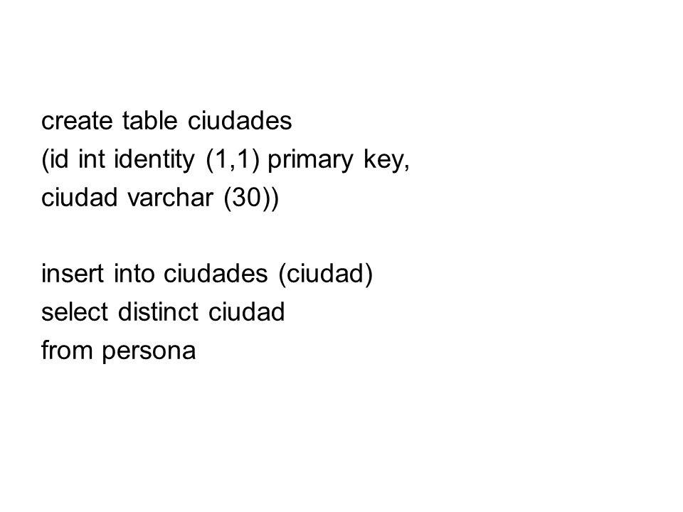 create table ciudades (id int identity (1,1) primary key, ciudad varchar (30)) insert into ciudades (ciudad)