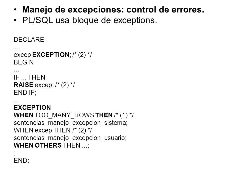 Manejo de excepciones: control de errores.