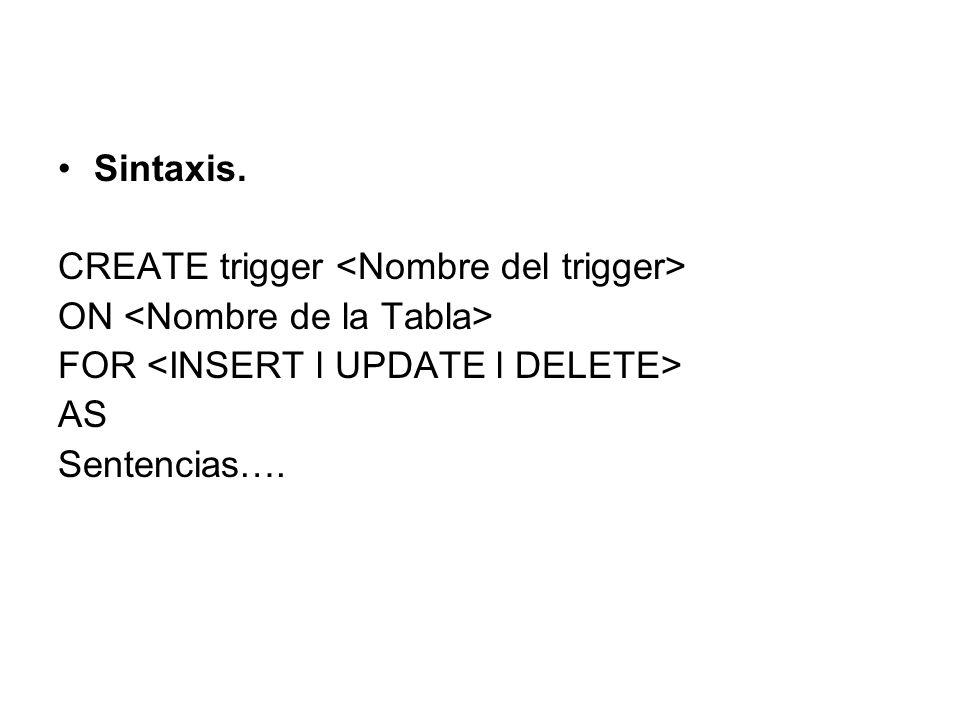 Sintaxis.CREATE trigger <Nombre del trigger> ON <Nombre de la Tabla> FOR <INSERT l UPDATE l DELETE>