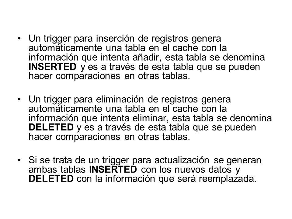 Un trigger para inserción de registros genera automáticamente una tabla en el cache con la información que intenta añadir, esta tabla se denomina INSERTED y es a través de esta tabla que se pueden hacer comparaciones en otras tablas.