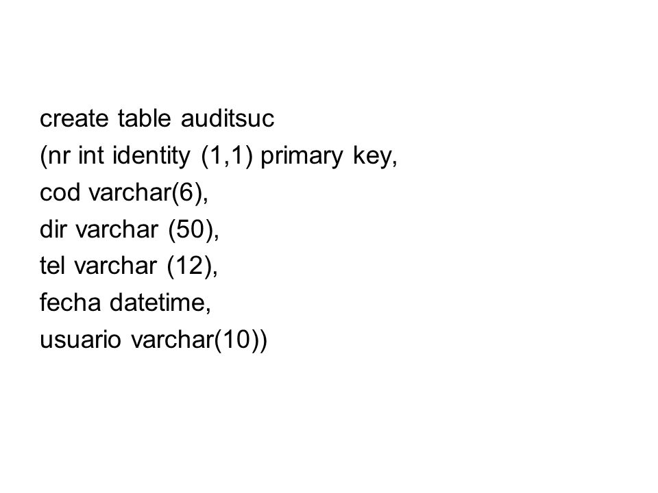 create table auditsuc(nr int identity (1,1) primary key, cod varchar(6), dir varchar (50), tel varchar (12),