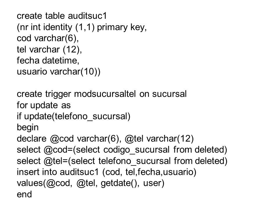 create table auditsuc1(nr int identity (1,1) primary key, cod varchar(6), tel varchar (12), fecha datetime,