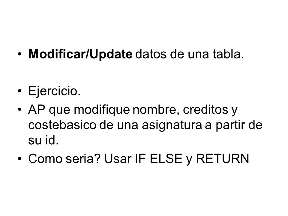 Modificar/Update datos de una tabla.