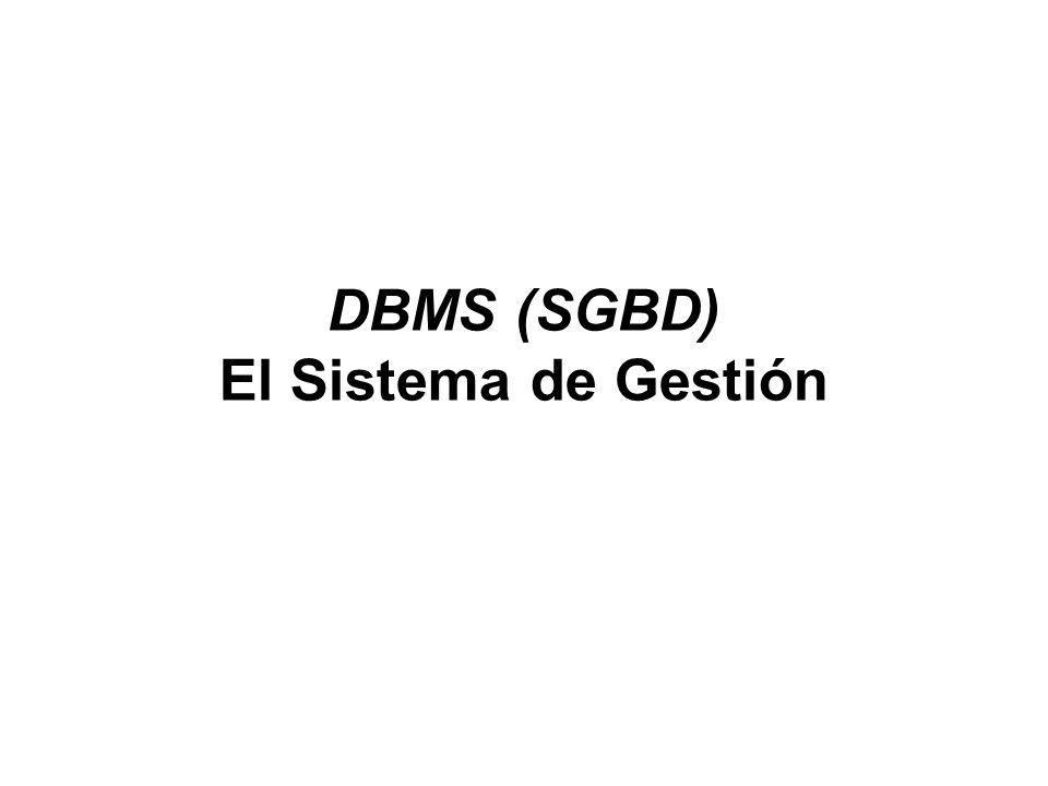 DBMS (SGBD) El Sistema de Gestión