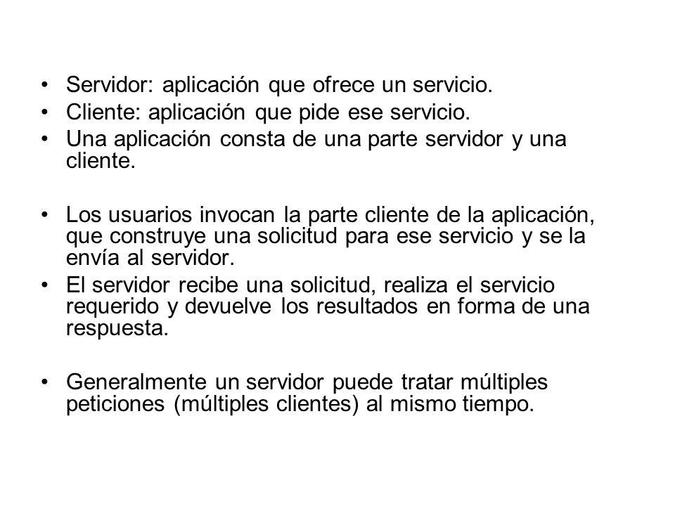 Servidor: aplicación que ofrece un servicio.
