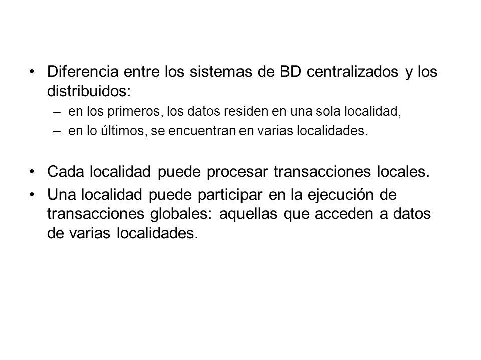 Diferencia entre los sistemas de BD centralizados y los distribuidos: