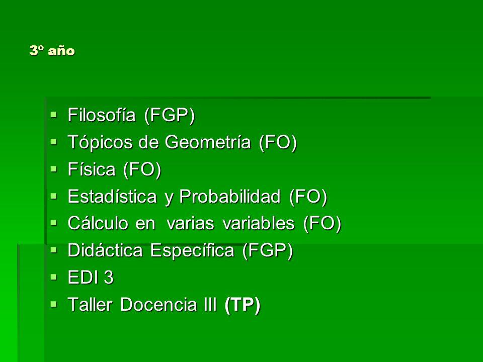 Tópicos de Geometría (FO) Física (FO) Estadística y Probabilidad (FO)