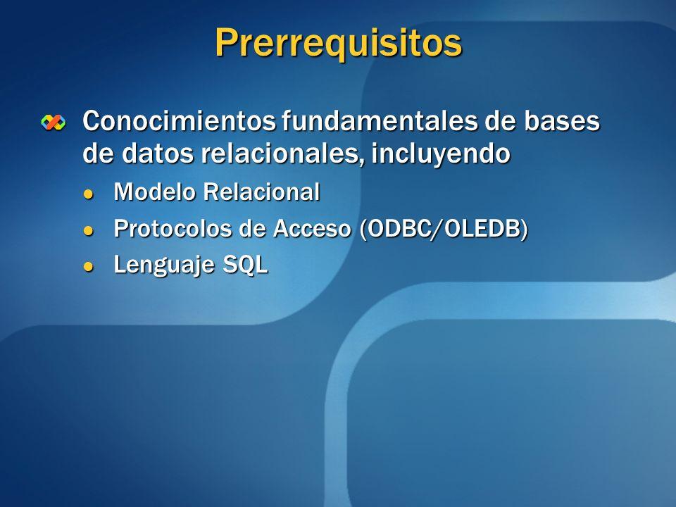Prerrequisitos Conocimientos fundamentales de bases de datos relacionales, incluyendo. Modelo Relacional.