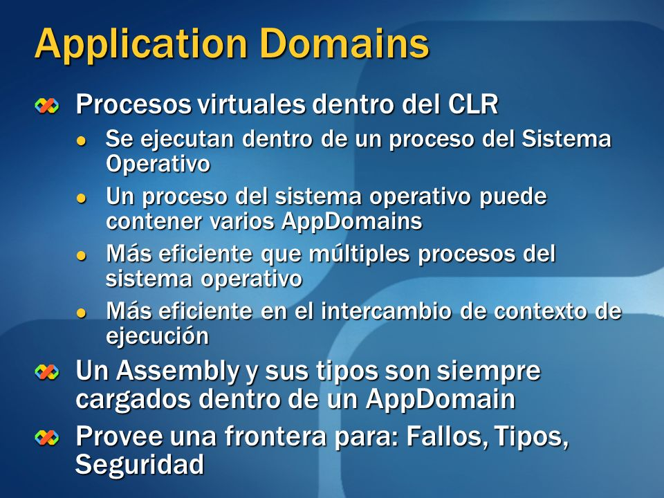 Application Domains Procesos virtuales dentro del CLR