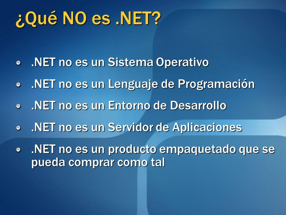 ¿Qué NO es .NET .NET no es un Sistema Operativo