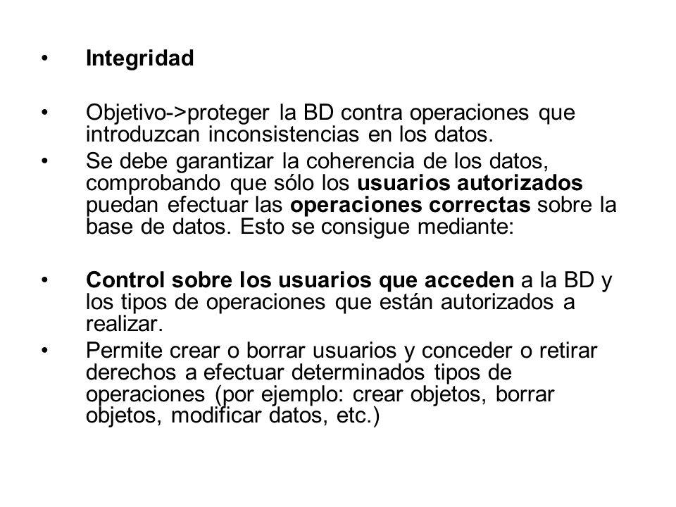 Integridad Objetivo->proteger la BD contra operaciones que introduzcan inconsistencias en los datos.