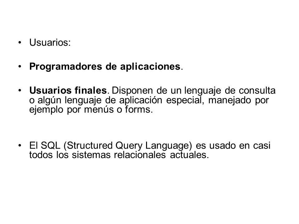 Usuarios: Programadores de aplicaciones.