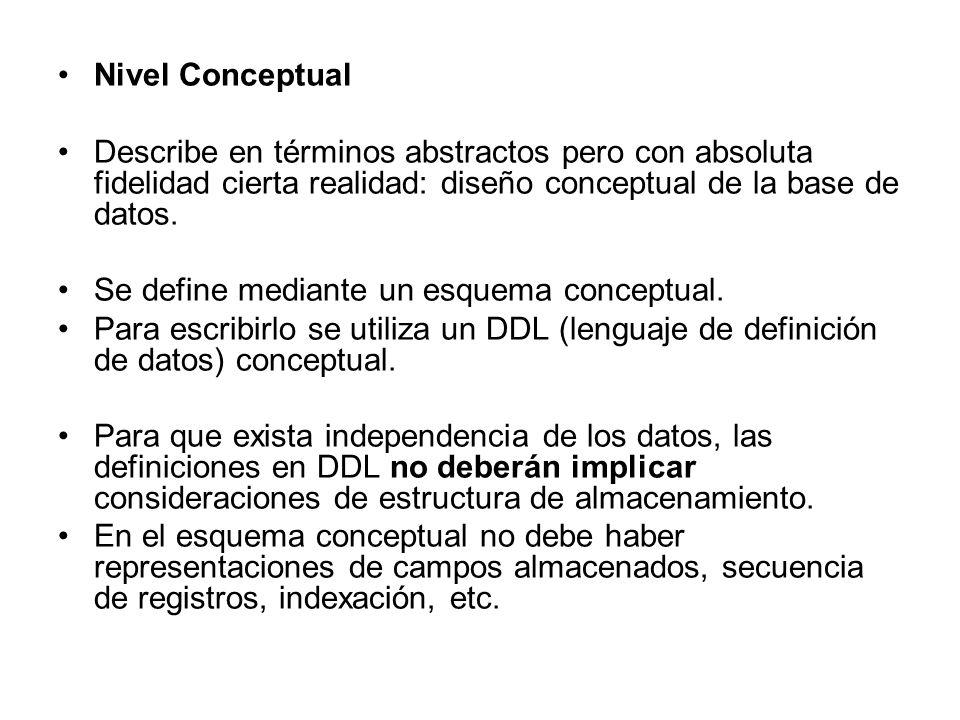 Nivel Conceptual Describe en términos abstractos pero con absoluta fidelidad cierta realidad: diseño conceptual de la base de datos.