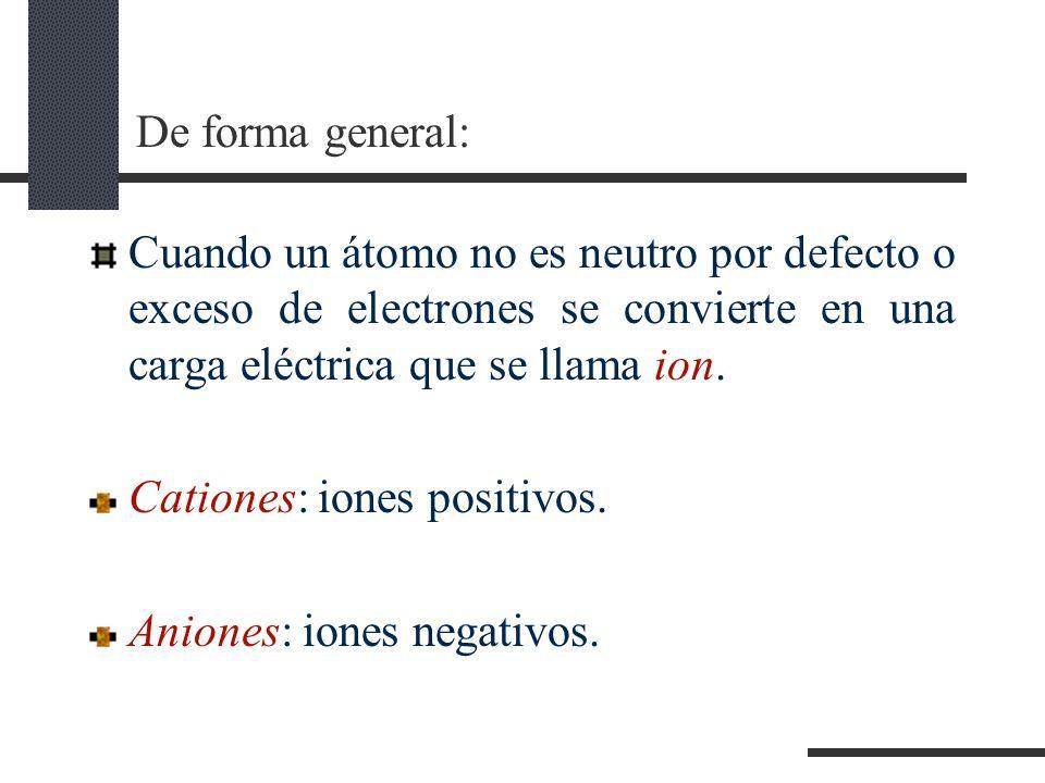 De forma general: Cuando un átomo no es neutro por defecto o exceso de electrones se convierte en una carga eléctrica que se llama ion.