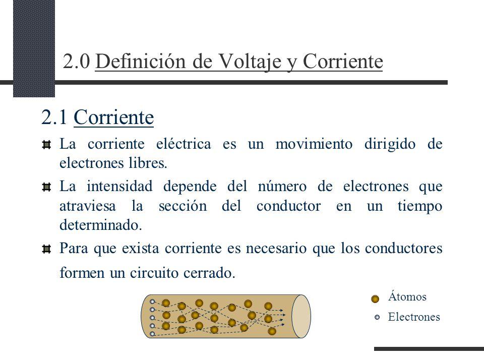 2.0 Definición de Voltaje y Corriente