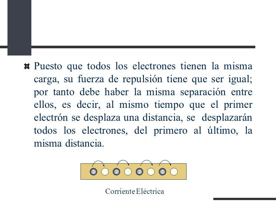 Puesto que todos los electrones tienen la misma carga, su fuerza de repulsión tiene que ser igual; por tanto debe haber la misma separación entre ellos, es decir, al mismo tiempo que el primer electrón se desplaza una distancia, se desplazarán todos los electrones, del primero al último, la misma distancia.