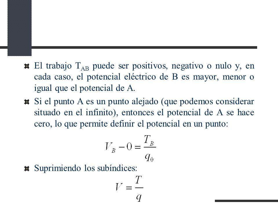 El trabajo TAB puede ser positivos, negativo o nulo y, en cada caso, el potencial eléctrico de B es mayor, menor o igual que el potencial de A.