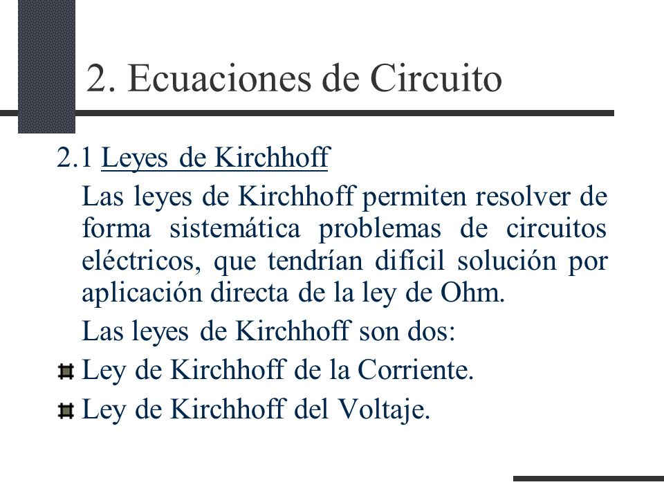 2. Ecuaciones de Circuito