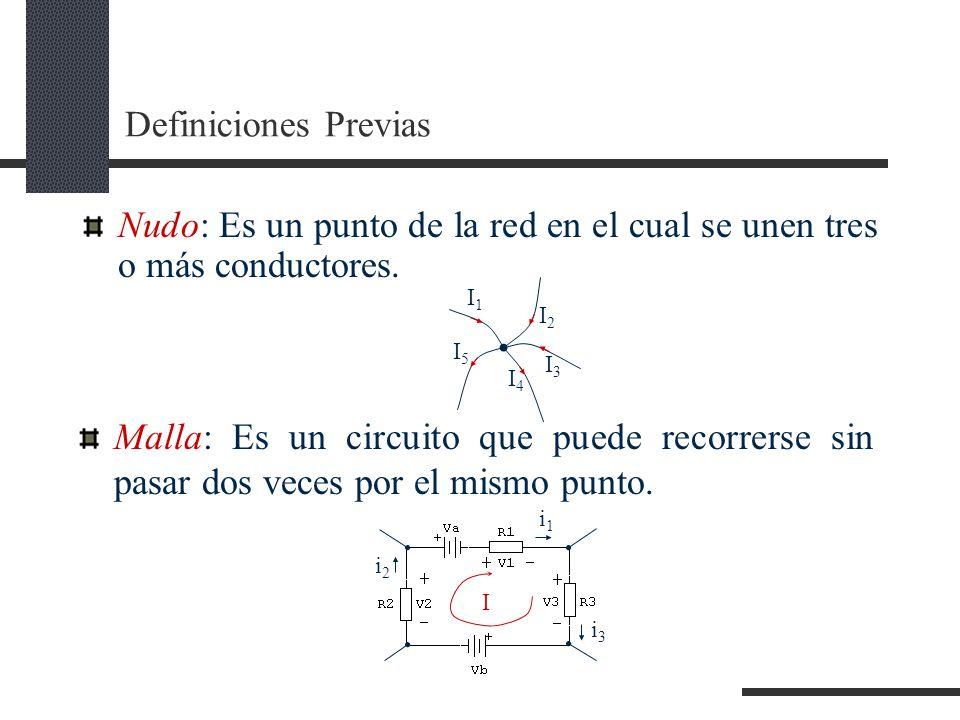 Nudo: Es un punto de la red en el cual se unen tres o más conductores.