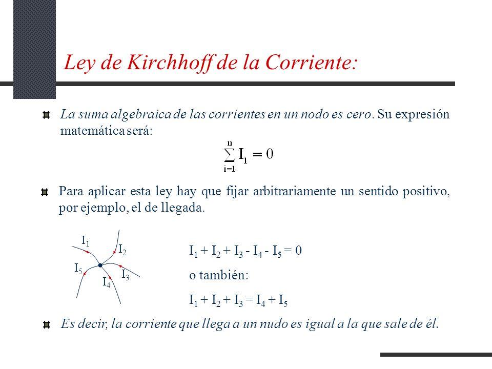 Ley de Kirchhoff de la Corriente: