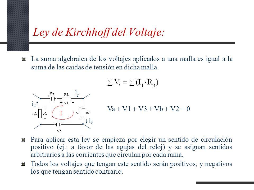 Ley de Kirchhoff del Voltaje: