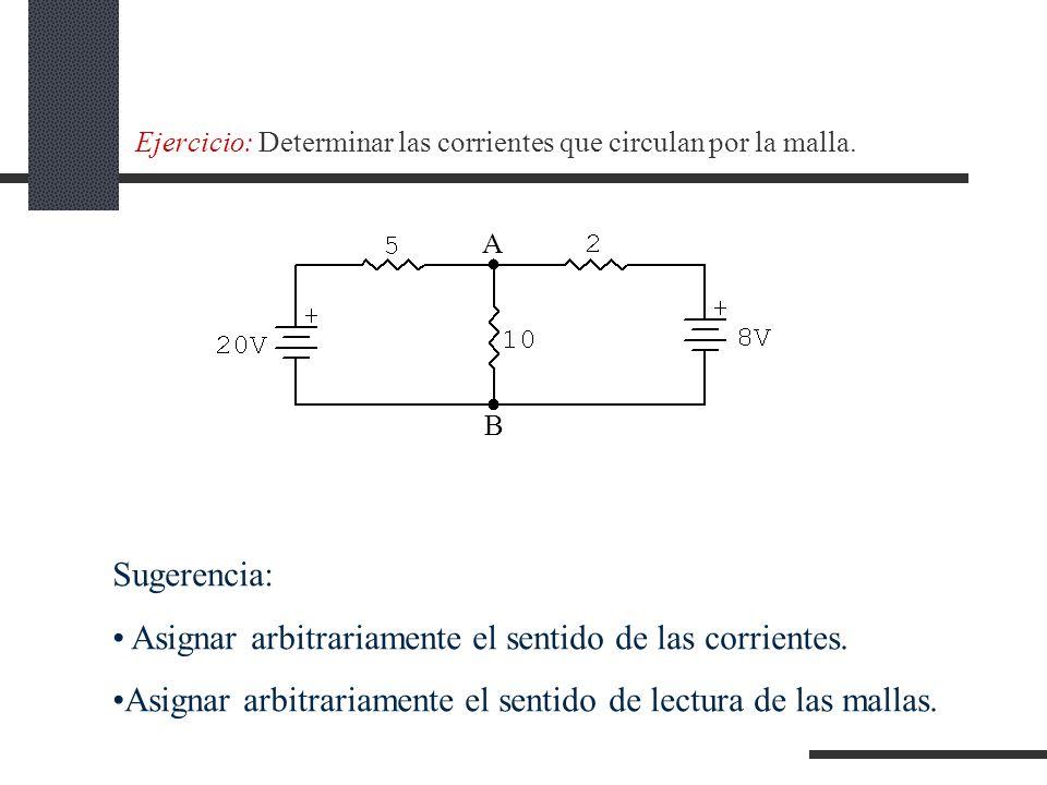 Ejercicio: Determinar las corrientes que circulan por la malla.