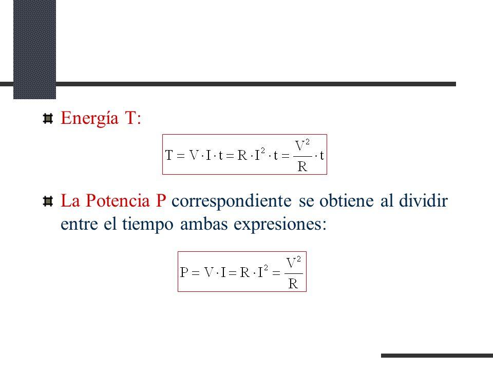 Energía T: La Potencia P correspondiente se obtiene al dividir entre el tiempo ambas expresiones:
