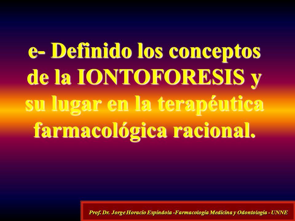 e- Definido los conceptos de la IONTOFORESIS y su lugar en la terapéutica farmacológica racional.