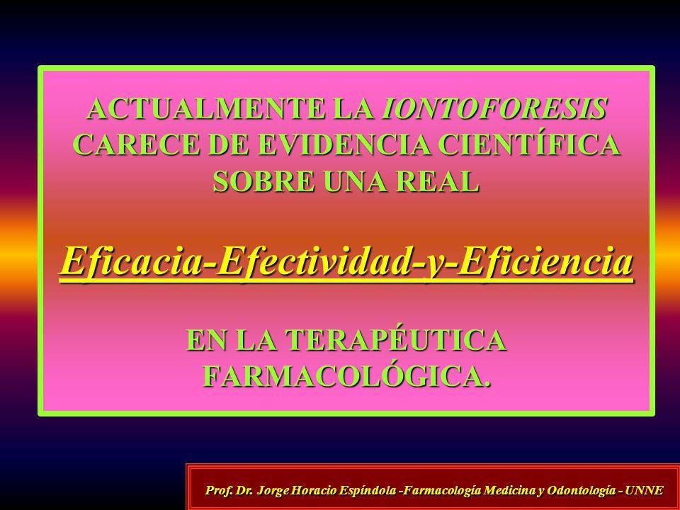 ACTUALMENTE LA IONTOFORESIS CARECE DE EVIDENCIA CIENTÍFICA SOBRE UNA REAL Eficacia-Efectividad-y-Eficiencia EN LA TERAPÉUTICA FARMACOLÓGICA.