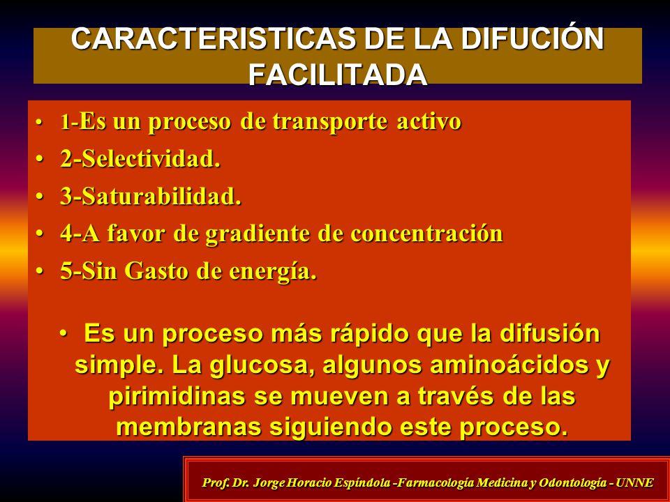 CARACTERISTICAS DE LA DIFUCIÓN FACILITADA