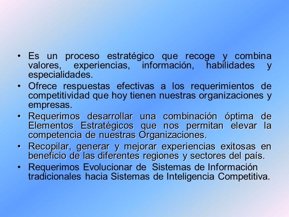 Es un proceso estratégico que recoge y combina valores, experiencias, información, habilidades y especialidades.