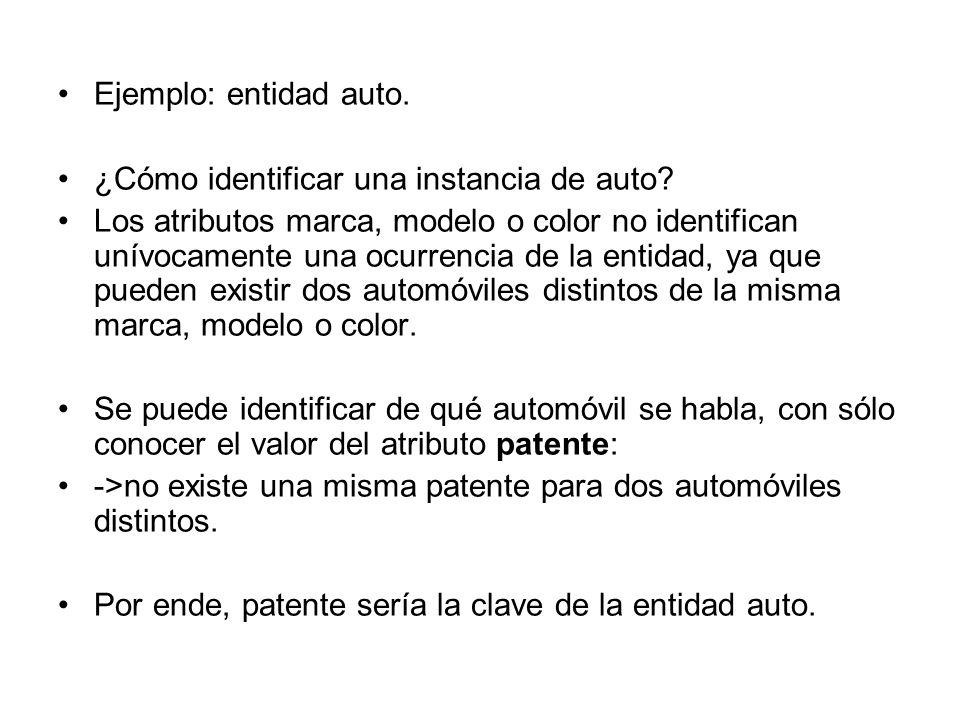 Ejemplo: entidad auto. ¿Cómo identificar una instancia de auto