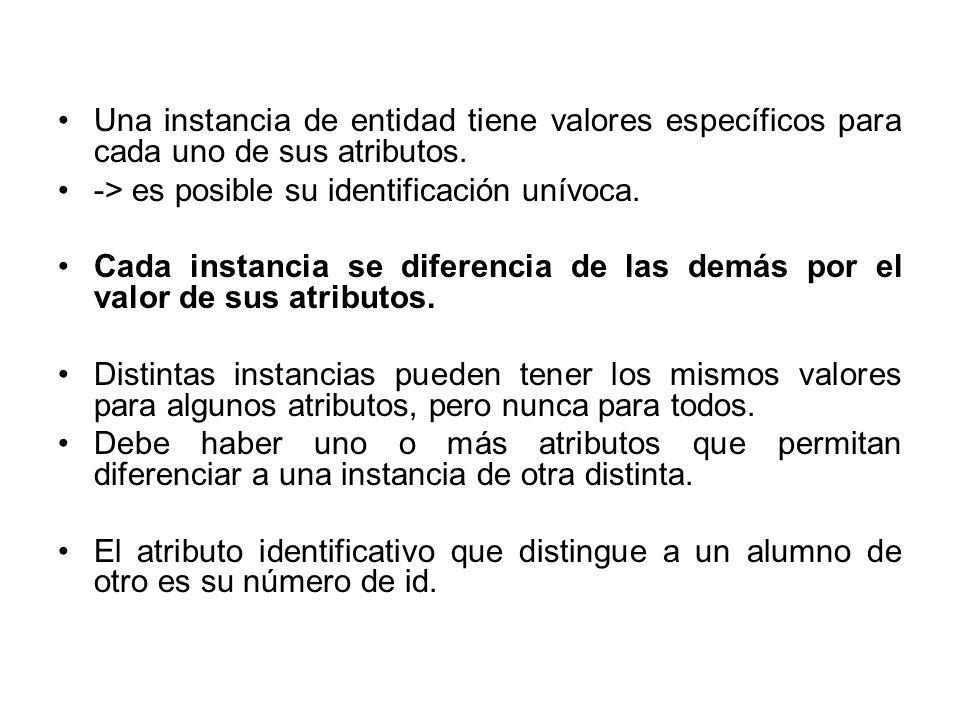 Una instancia de entidad tiene valores específicos para cada uno de sus atributos.