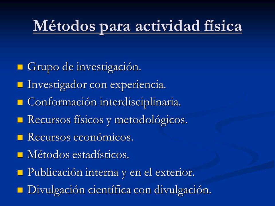 Métodos para actividad física