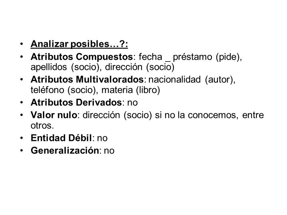 Analizar posibles… : Atributos Compuestos: fecha _ préstamo (pide), apellidos (socio), dirección (socio)