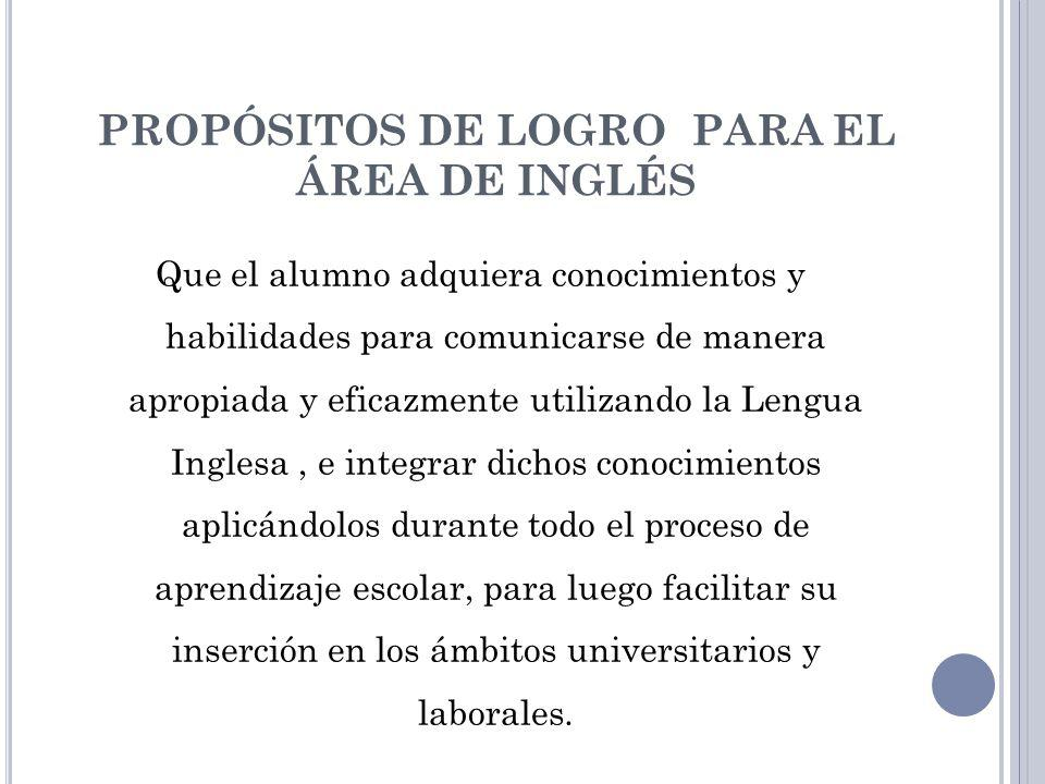 PROPÓSITOS DE LOGRO PARA EL ÁREA DE INGLÉS