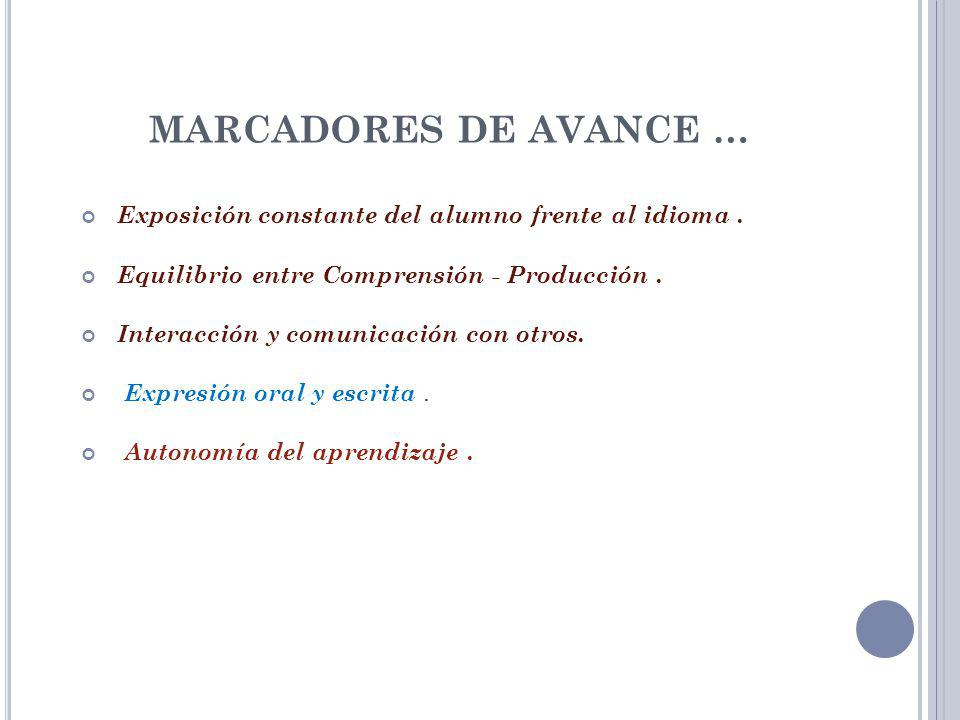 MARCADORES DE AVANCE … Exposición constante del alumno frente al idioma . Equilibrio entre Comprensión - Producción .