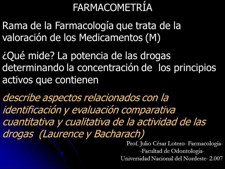 FARMACOMETRÍA Rama de la Farmacología que trata de la valoración de los Medicamentos (M)