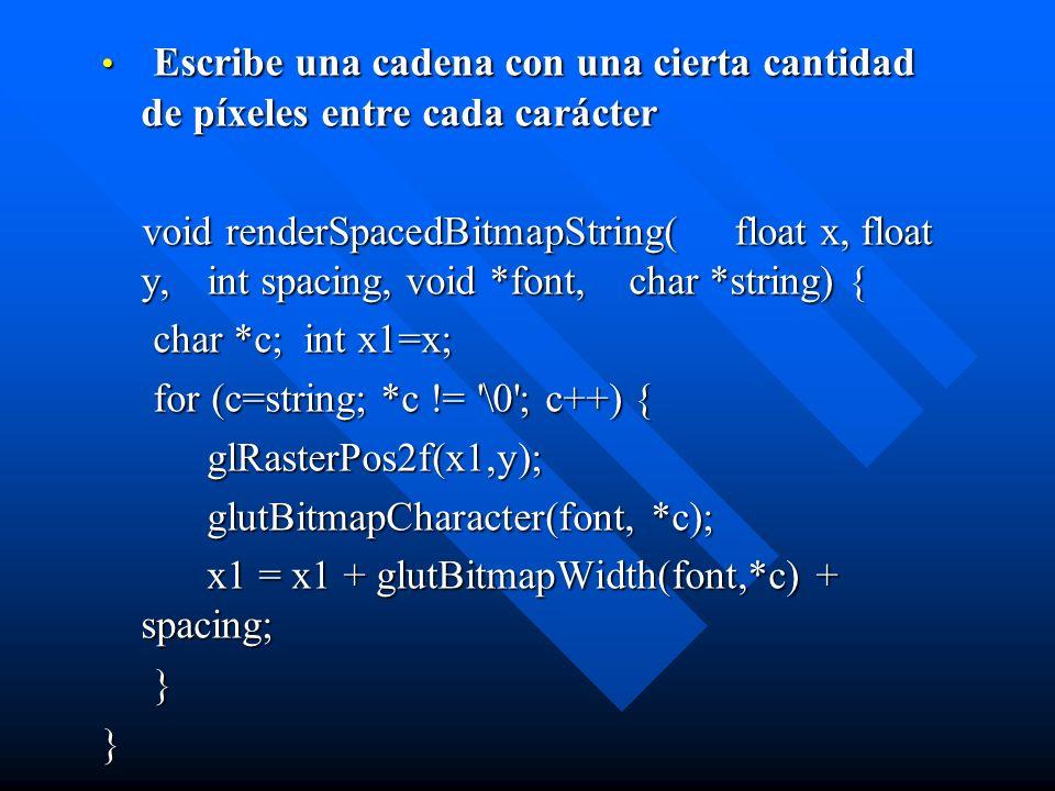 Escribe una cadena con una cierta cantidad de píxeles entre cada carácter