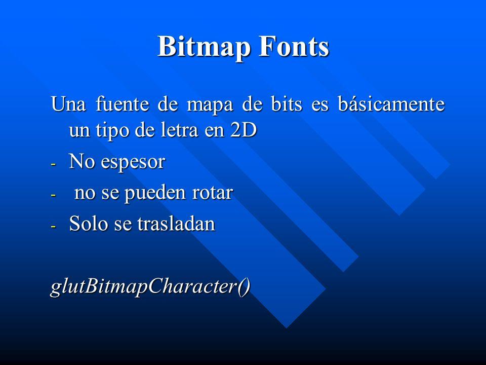 Bitmap Fonts Una fuente de mapa de bits es básicamente un tipo de letra en 2D. No espesor. no se pueden rotar.