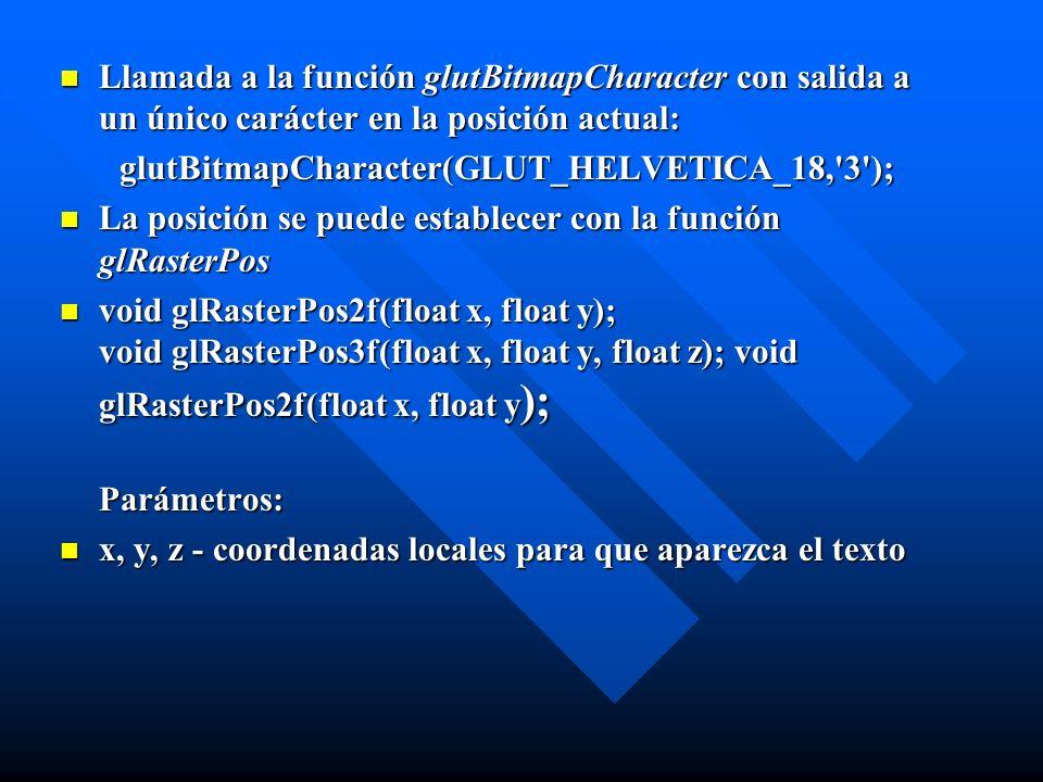 glutBitmapCharacter(GLUT_HELVETICA_18, 3 );
