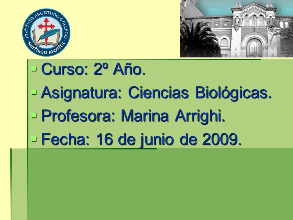 Curso: 2º Año. Asignatura: Ciencias Biológicas. Profesora: Marina Arrighi.