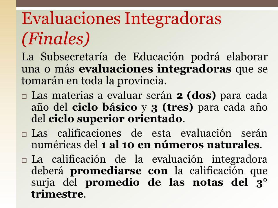 Evaluaciones Integradoras (Finales)
