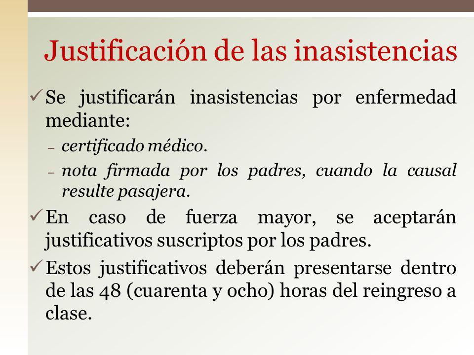 Justificación de las inasistencias